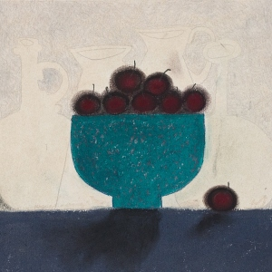 Cherries and Blue Bowl